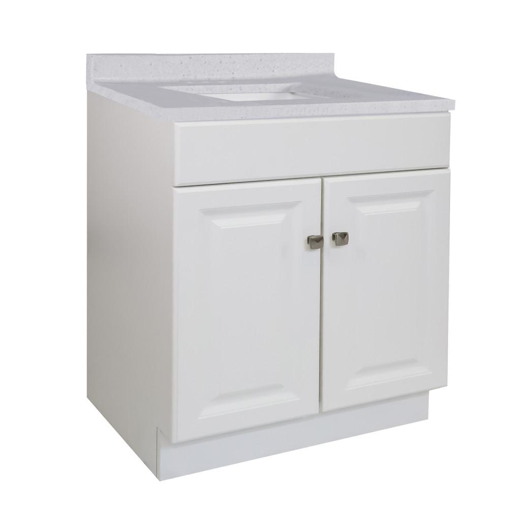 30 in. x 21 in. x 31.5 in. 2-Door Bath Vanity in White with 4 in. Centerset CM Frost Vanity Top with Basin in White