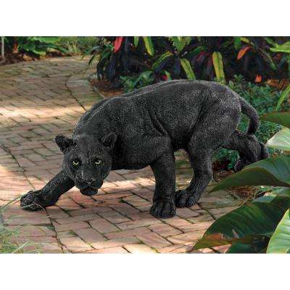 10 in. H Shadowed Predator Black Panther Medium Garden Statue