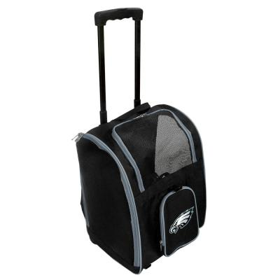 Denco NFL Philadelphia Eagles Pet Carrier Premium Bag with wheels in Gray, Team Color