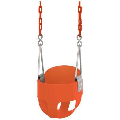 High Back Full Bucket Toddler and Baby Swing - Vinyl Coated Chain - Fully Assembled - Orange