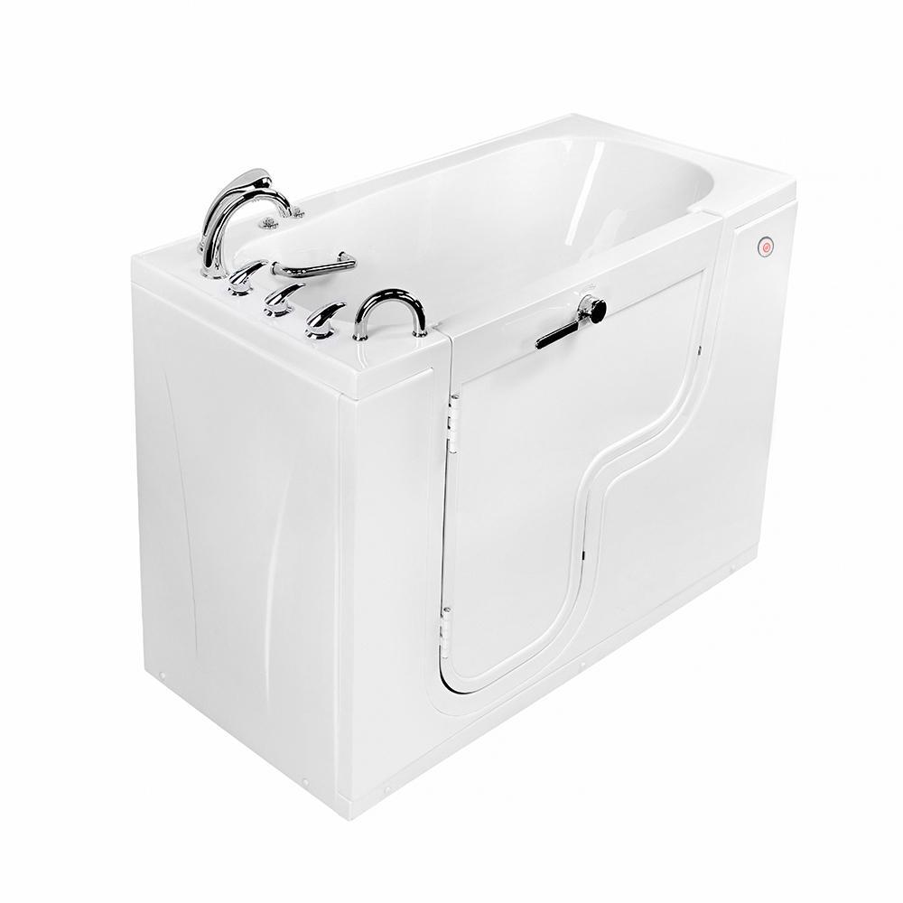 Wheelchair Transfer 60 in. Acrylic Walk-In Air Bath and MicroBubble Bathtub in White, Faucet, Heated Seat, LH Dual Drain