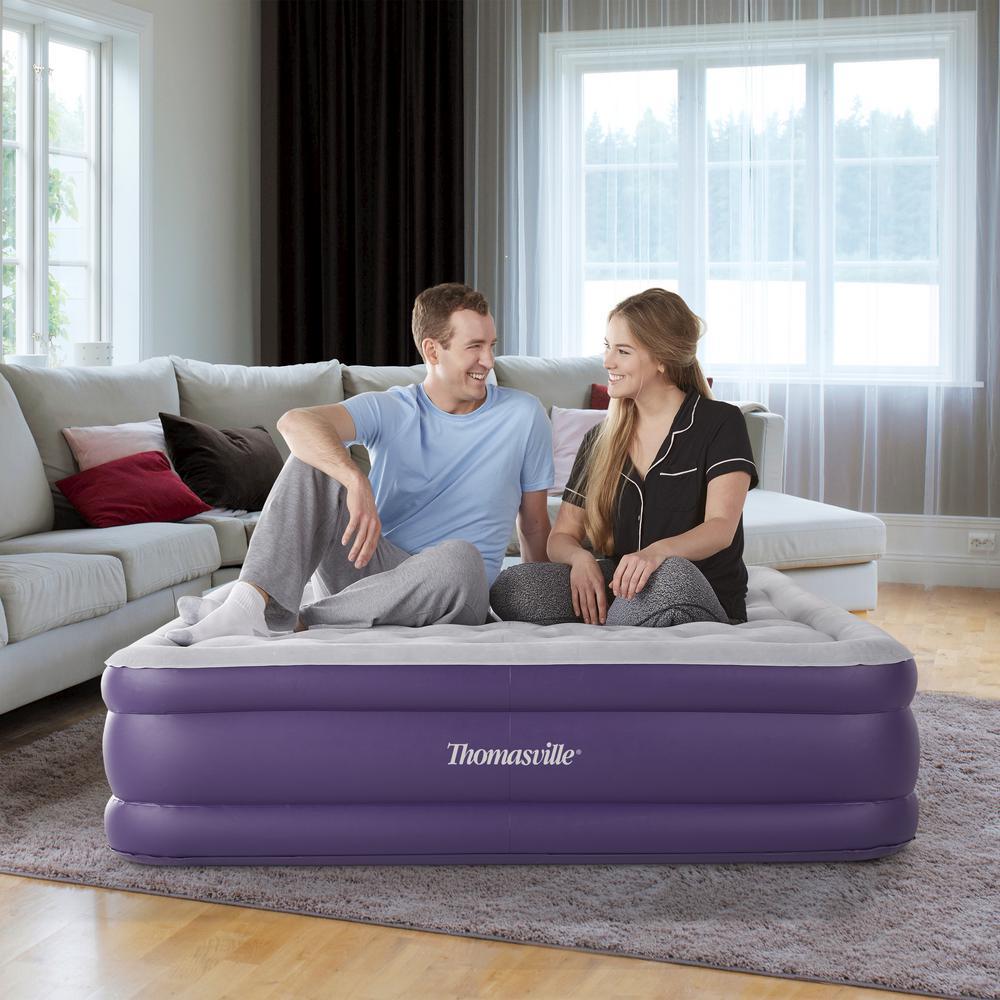 Sensation 15 Queen Raised Adjustable Comfort Air Mattress With Express Pump