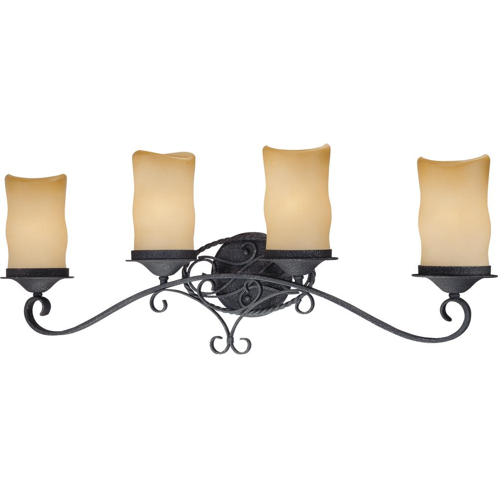 Volume Lighting Sevilla 4 Light Indoor Antique Wrought Iron Bath Vanity Wall Mount W Candle Shaped Sandstone Gl Shades