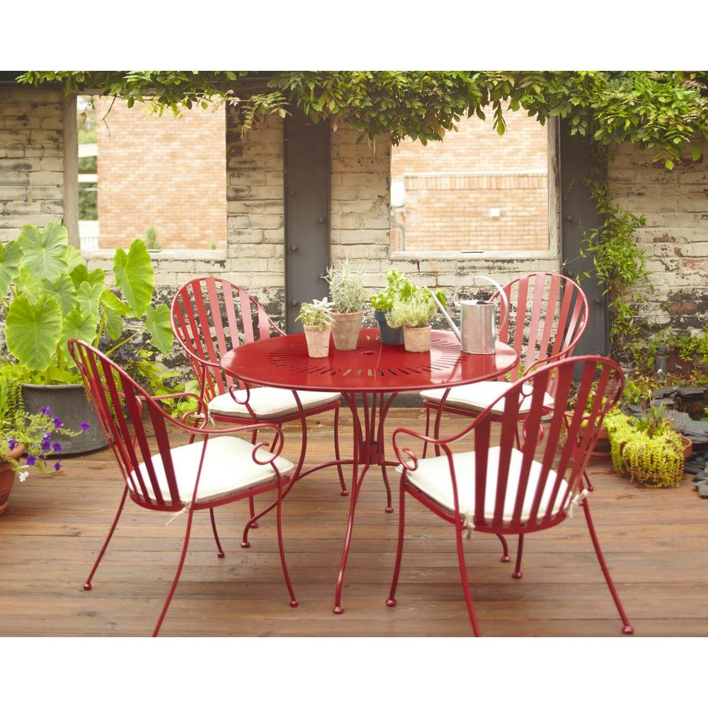 Hampton Bay Shelburne Red 5-Piece Metal Patio Dining Set with White Cushions-DISCONTINUED