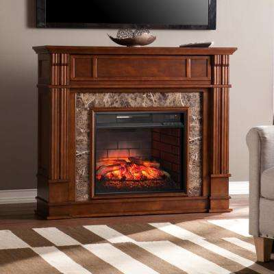 Rochester 48 in. Faux Stone Infrared Media Electric Fireplace TV Stand in Whiskey Maple