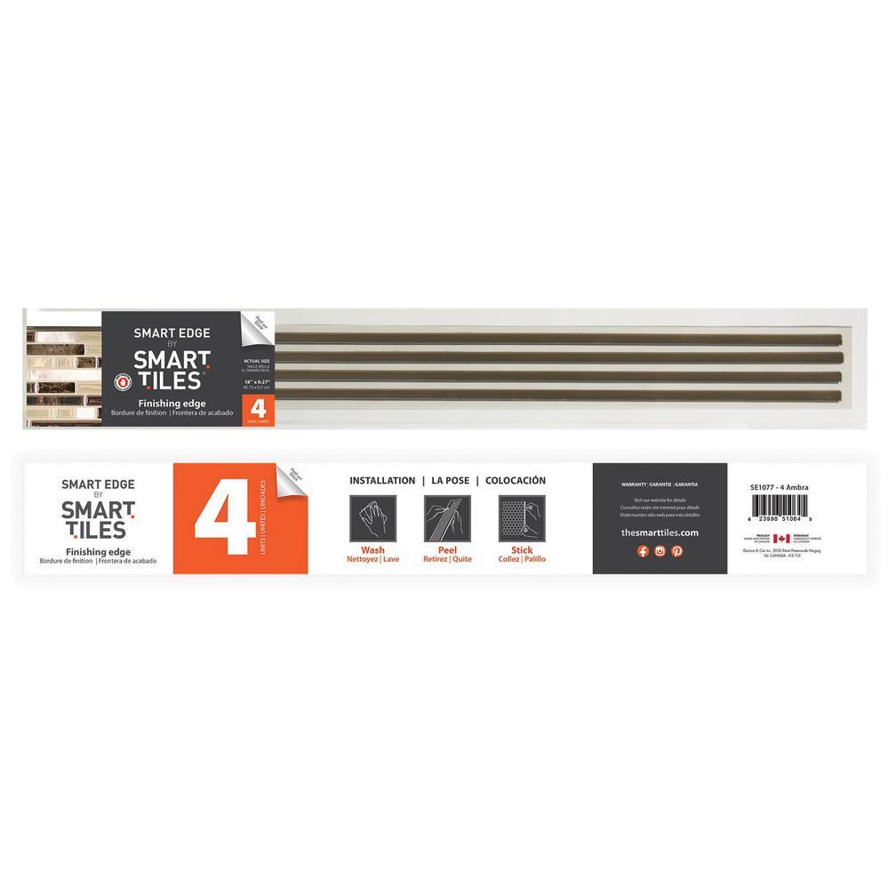 18 in. x 0.27 in. Self-Adhesive Decorative Smart Edge in Ambra (4-Pack)