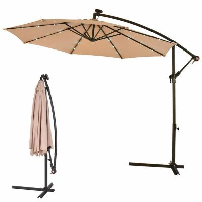 10 ft. Steel Market Hanging Solar LED Patio Umbrella with Base in Beige
