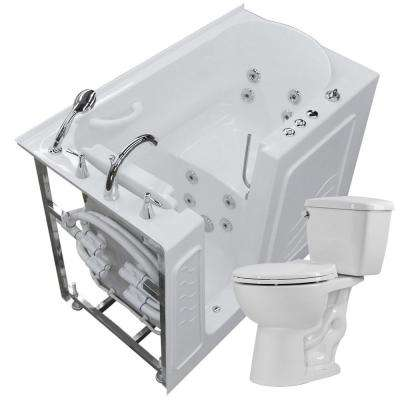 52.75 in. Walk-In Whirlpool Bathtub in White with 1.28 GPF Single Flush Toilet