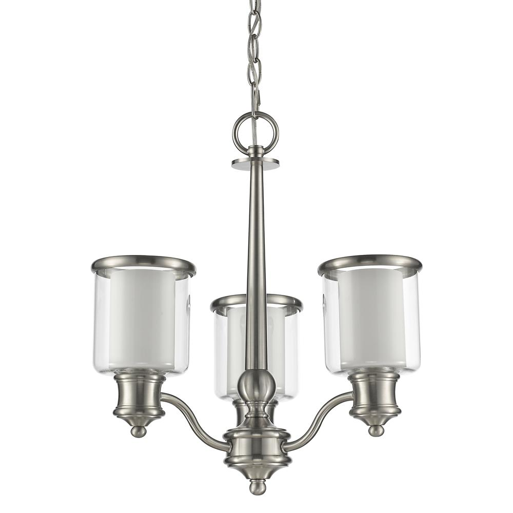 Giuliana Indoor 3-Light Mini Satin Nickel Chandelier with Glass Shades