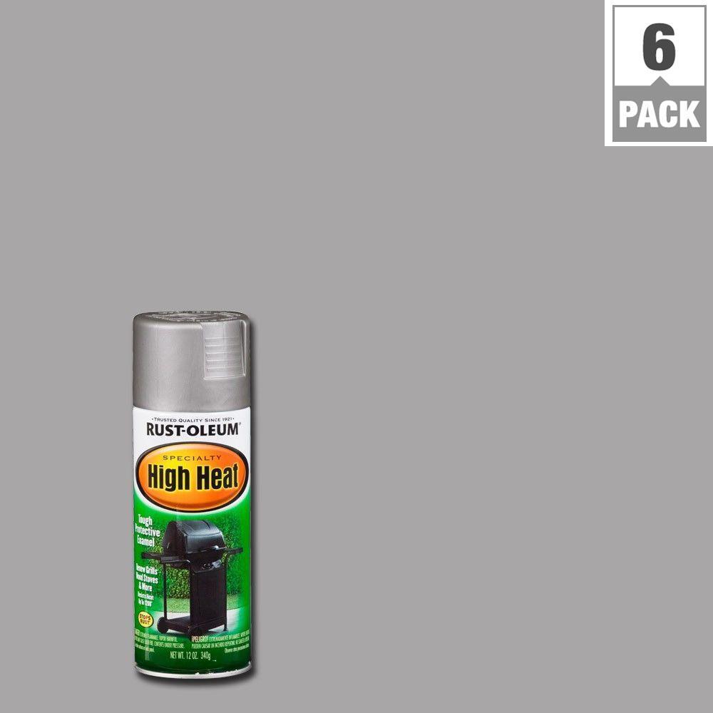 12 oz. High Heat Satin Silver Spray Paint (6-Pack)
