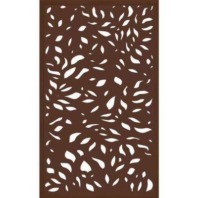 5 ft. x 3 ft. Framed Espresso Brown Decorative Composite Fence Panel featured in The Leaf Design