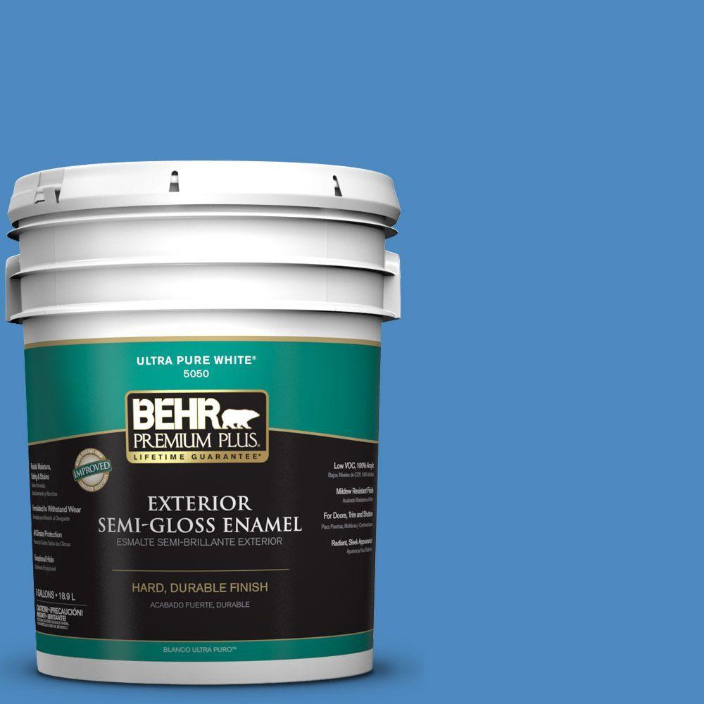 BEHR Premium Plus 5-gal. #P520-5 Boat House Semi-Gloss Enamel Exterior Paint