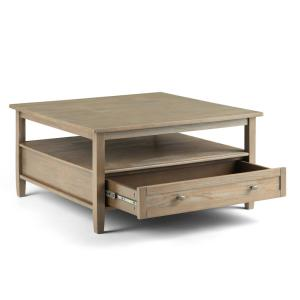 Simpli Home 36 In Warm Shaker Distressed Grey Solid Wood Wide