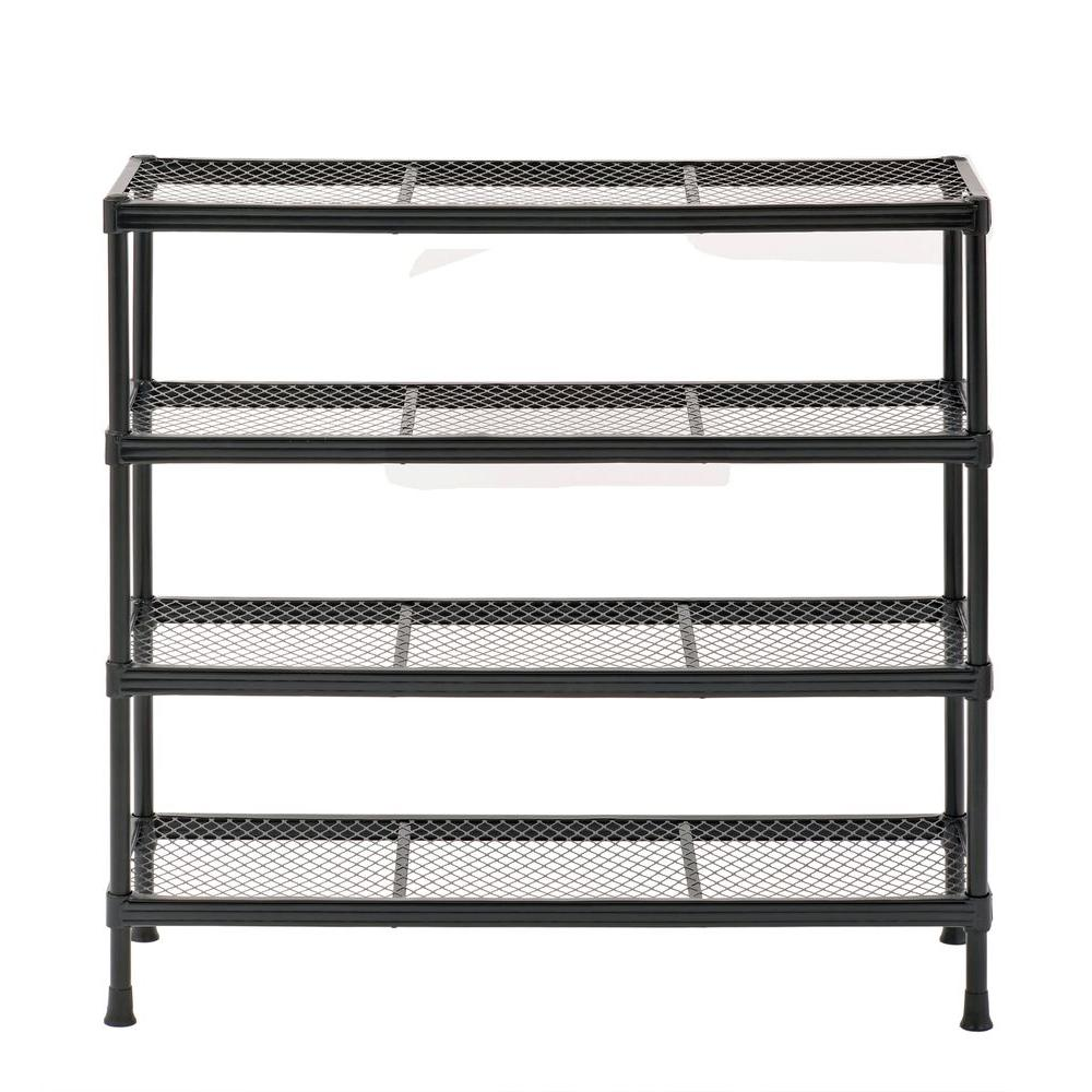 black shoe rack Sandusky 31 in. H x 31 in. W x 11 in. D Steel Wire Shoe Rack in  black shoe rack