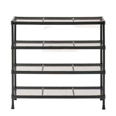 31 in. H x 31 in. W x 11 in. D Steel Wire Shoe Rack in Black