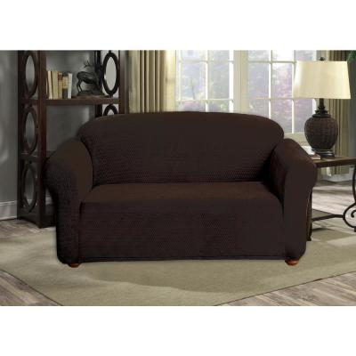 Hayden Chocolate Diamond Velvet Loveseat Cover