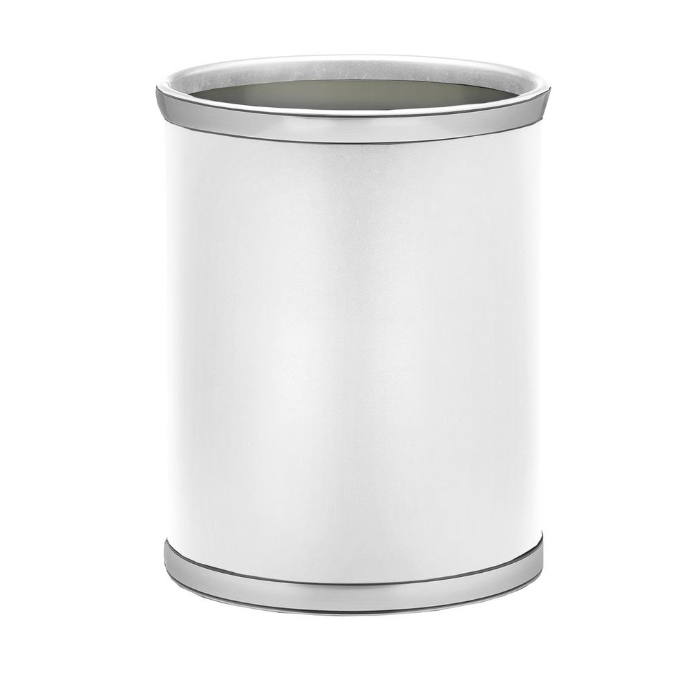 Sophisticates 13 Qt. White and Brushed Chrome Oval Waste Basket