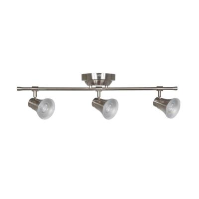Solo 2 ft. 3-Light Satin Nickel LED Fixed Track with 400 LM/Head 1000027276