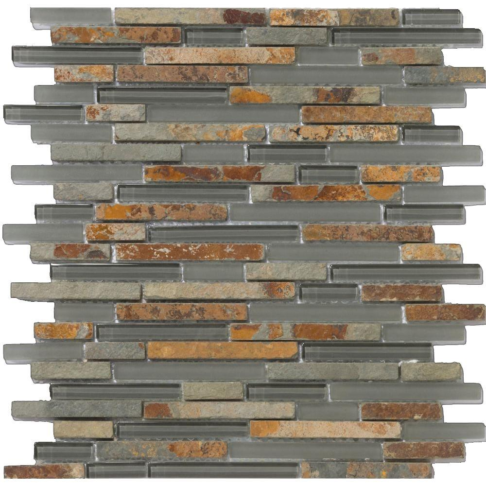 Emser Lucente Romano Linear Stone Blends 13 in. x 13 in. x 9.53 mm Porcelain Mesh-Mounted Mosaic Wall Tile