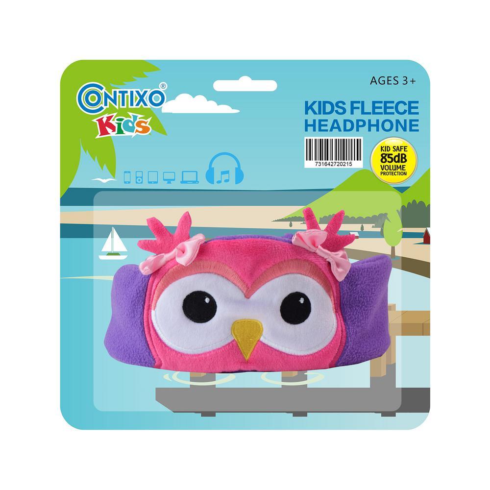 Kids Headphones Volume Limiter Machine Washable Fleece Headphones for Children Travel or Home w/ Adjustable Band (Owl)