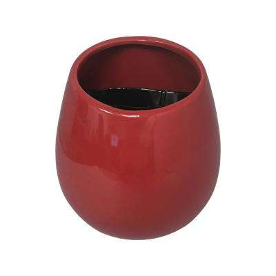 Round 5 1/2 in. x 6 in. Red Ceramic Wall Planter