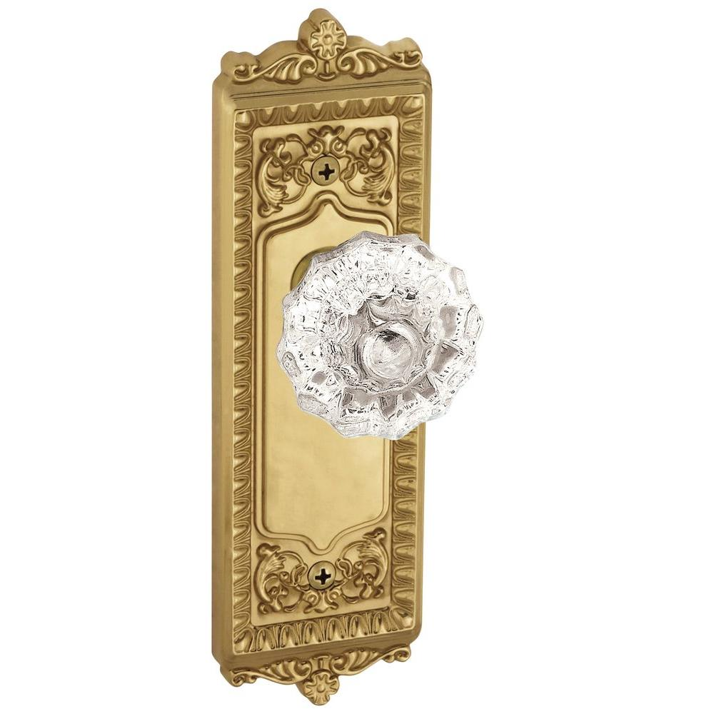 Grandeur Windsor Lifetime Brass Plate with Privacy Fontainebleau Crystal Knob