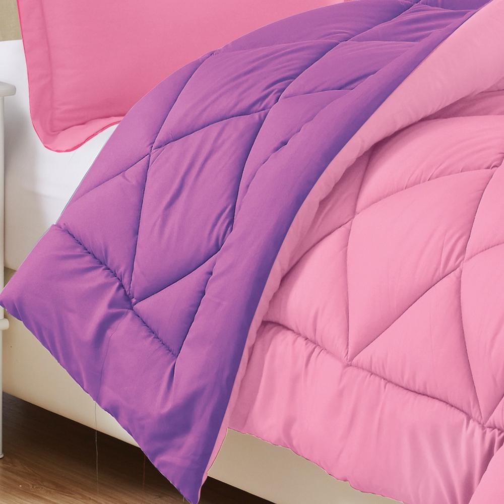 3-Piece Pink/Purple Full/Queen Comforter Set