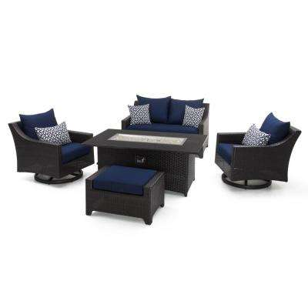 Deco Motion 5-Piece Wicker Patio Fire Pit Conversation Set with Sunbrella Navy Blue Cushions