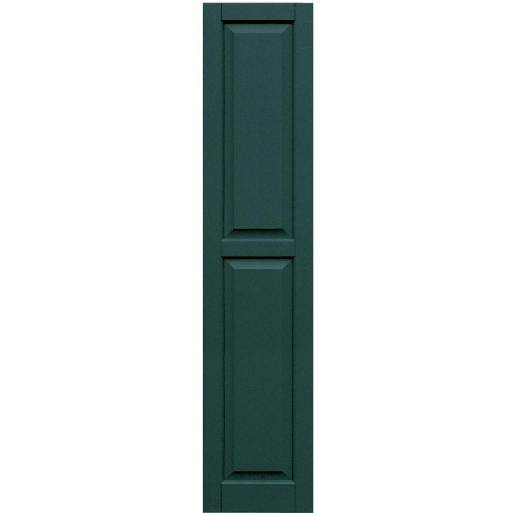 Winworks Wood Composite 15 in. x 70 in. Raised Panel Shutters Pair #633 Forest Green
