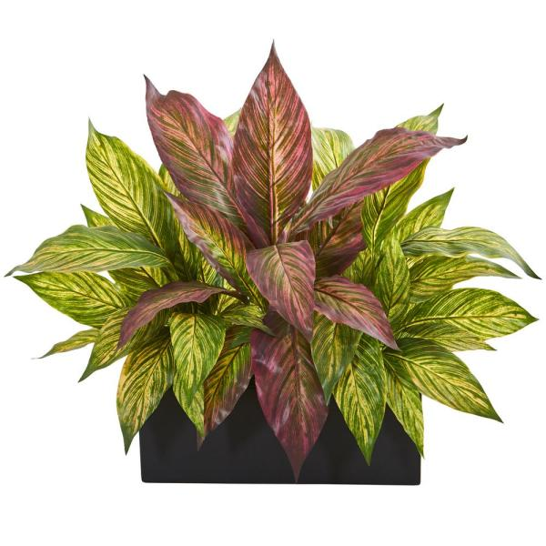 Nearly Natural 16 in. Musa Leaf Artificial Plant in Black Planter