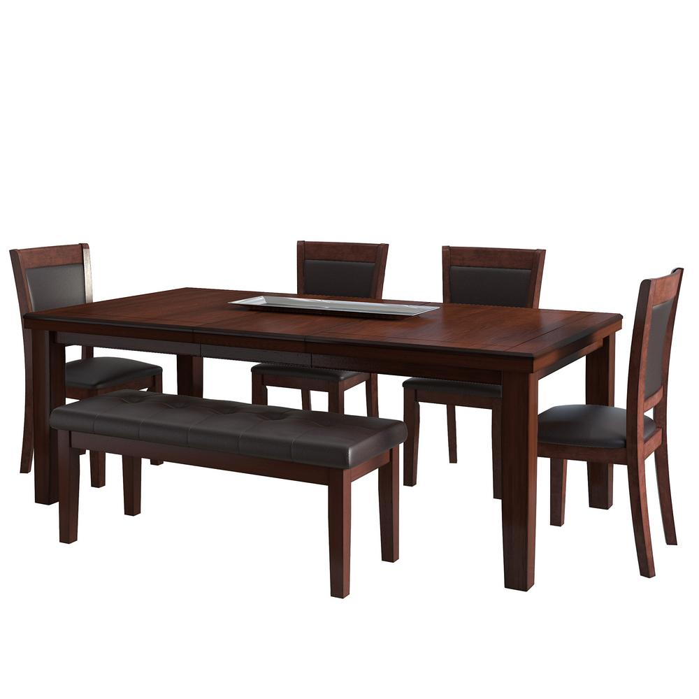 7 Piece Solid Wood Dining Set With Table And 6 Chairs