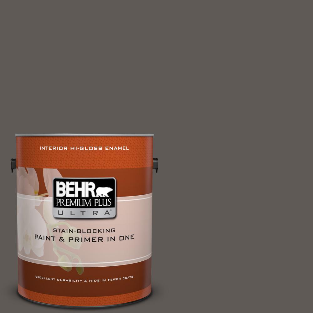 BEHR Premium Plus Ultra 1 gal. #T14-10 Coffee Bar Hi-Glos...