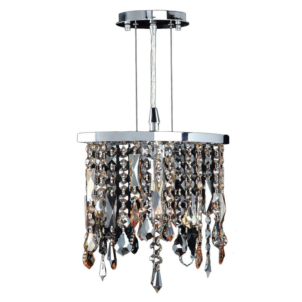 Worldwide Lighting Fiona Collection 1 Light Chrome Crystal Pendant