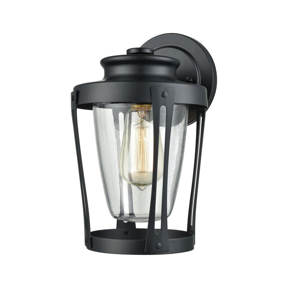 Titan Lighting Fullerton 1-Light Matte Black With Clear