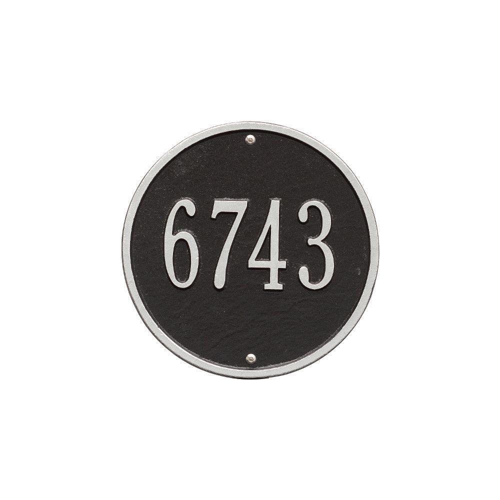 Whitehall Products Round Standard Black/Silver Wall 1-Line Address ...