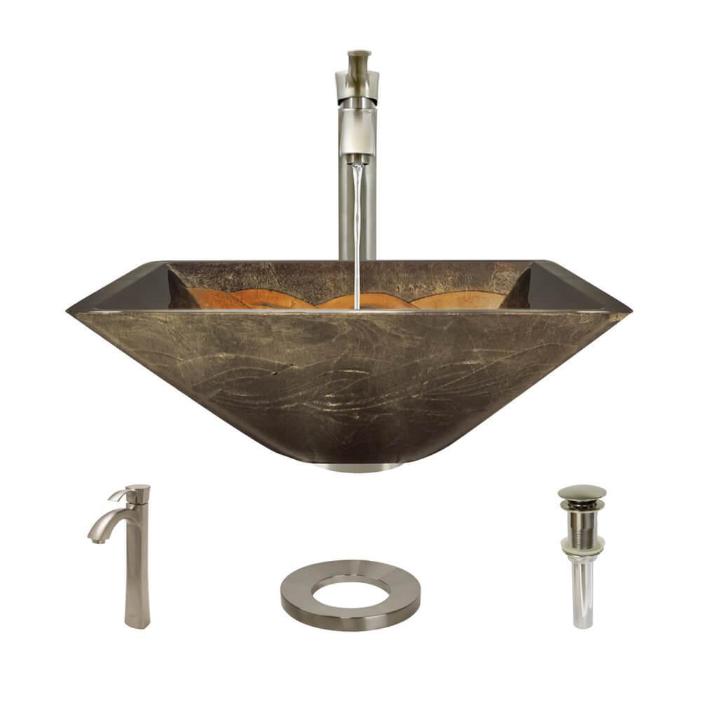 Metallic Vessel Sink : Rene by elkay glass vessel sink in metallic green and gold