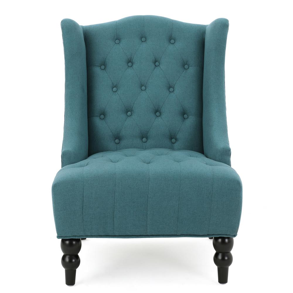 Le House Toddman Dark Teal Fabric High Back Accent Chair