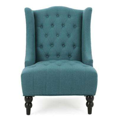 Toddman Dark Teal Fabric High Back Accent Chair