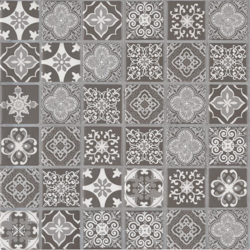 MSI Anya Charcoal Encaustic In X In X Mm Glazed Ceramic - Encaustic tile home depot