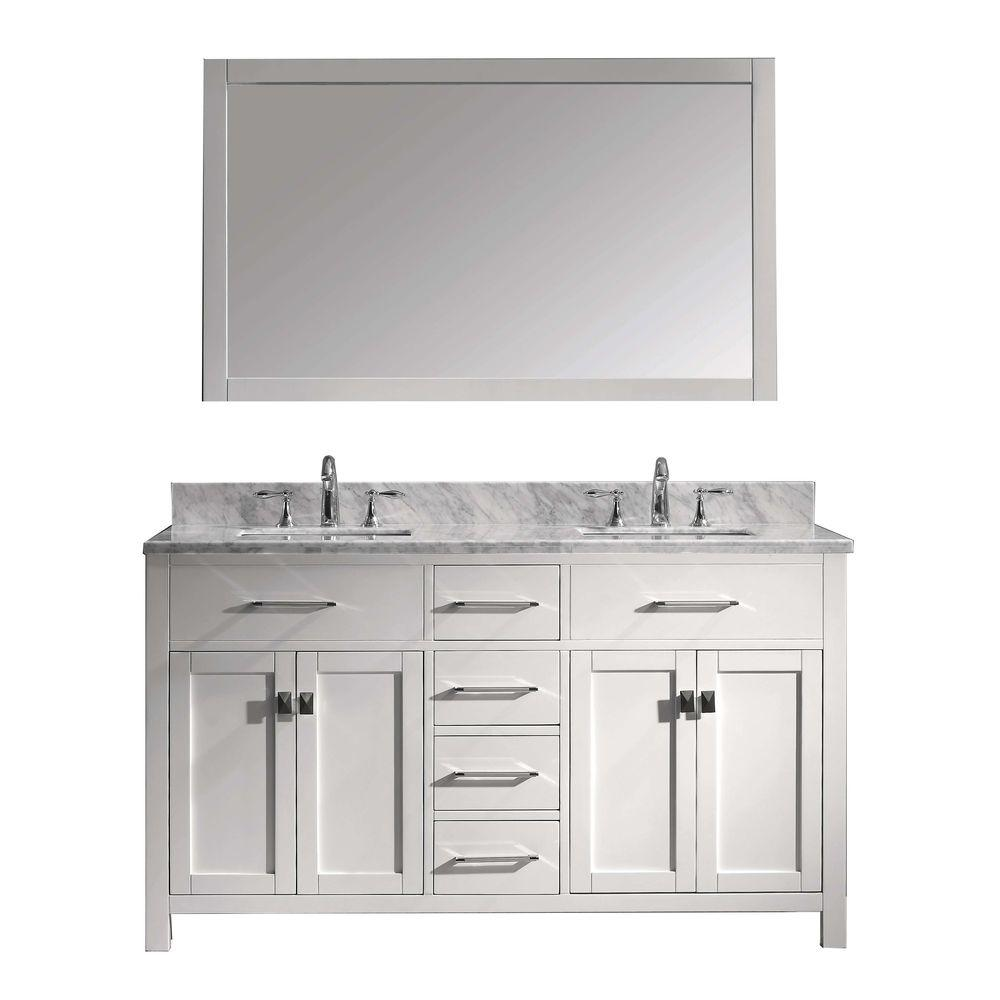 Caroline 60 In W Bath Vanity White With Marble Top Square Basin And Mirror