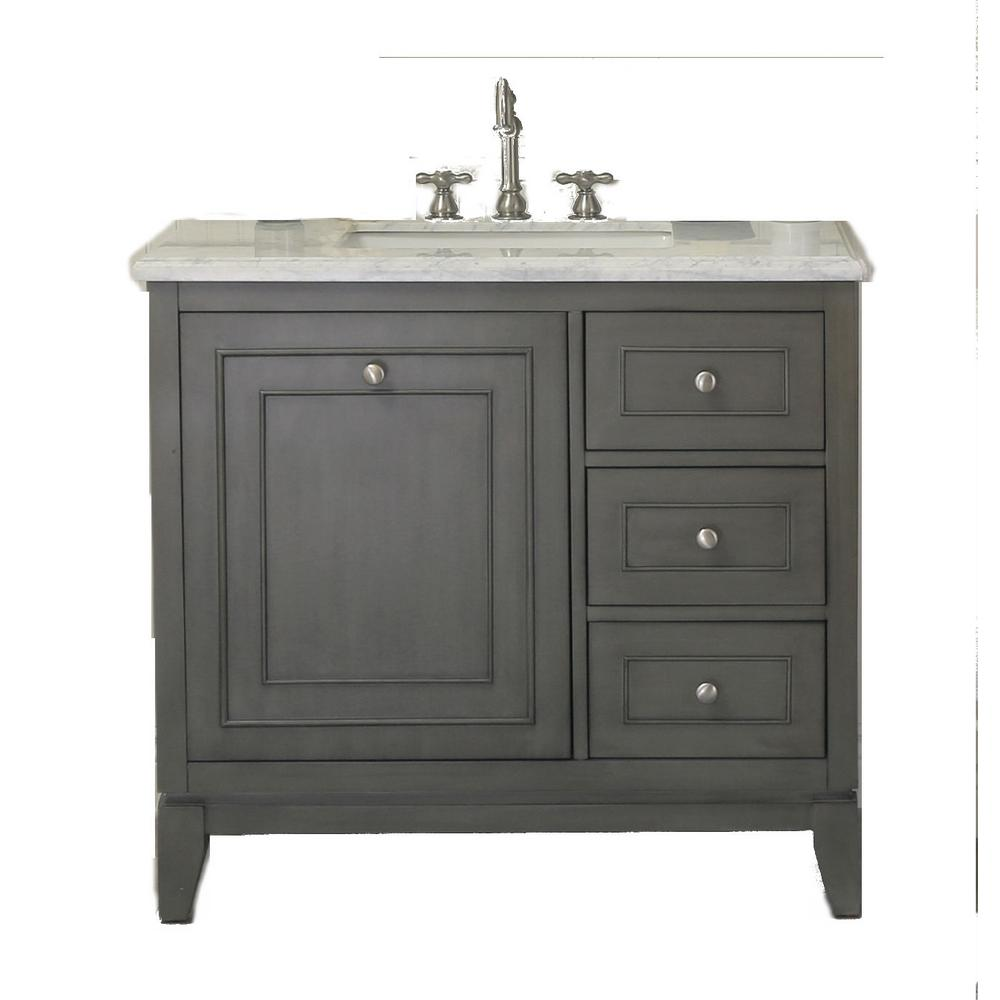 37 in. W x 22 in. D x 38 in H Bath Vanity in Silver Gray with Marble Vanity Top in Carrara White with White Basin
