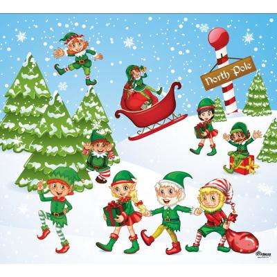 7 ft. x 8 ft. North Pole Elves-Christmas Garage Door Decor Mural for Single Car Garage