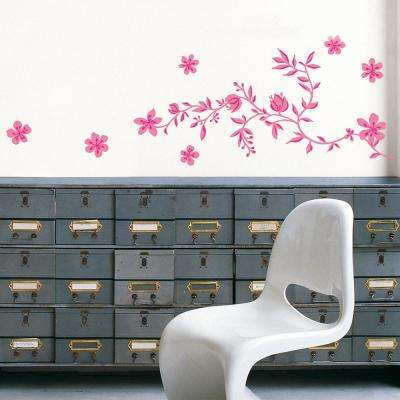 Multi-color Pink Garland Adhesive Wall Decal