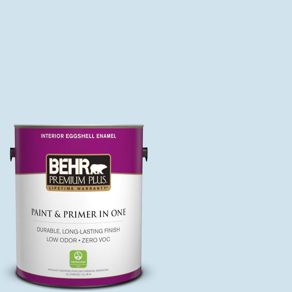 BEHR Premium Plus 1-gal. #550A-1 Sea Sprite Zero VOC Eggshell Enamel Interior Paint