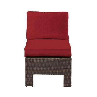 Beverly Wicker Outdoor Patio Sectional Middle Chair with Cardinal Cushion