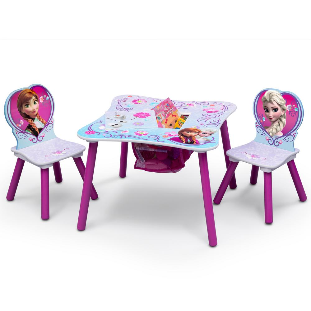 Disney Frozen 3-Piece Multi-Color Table and Chair Set with Storage