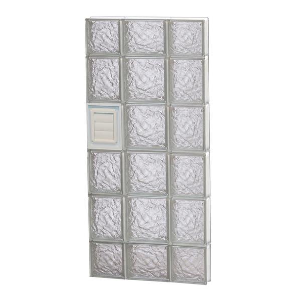 19.25 in. x 42.5 in. x 3.125 in. Frameless Ice Pattern Glass Block Window with Dryer Vent