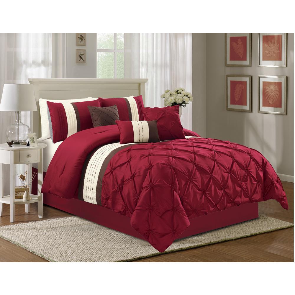 Olivia 7-Piece Burgundy Cal. King Comforter Set