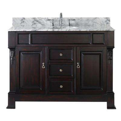 Huntshire 49 in. W Bath Vanity in Dark Espresso with Marble Vanity Top in White with Round Basin