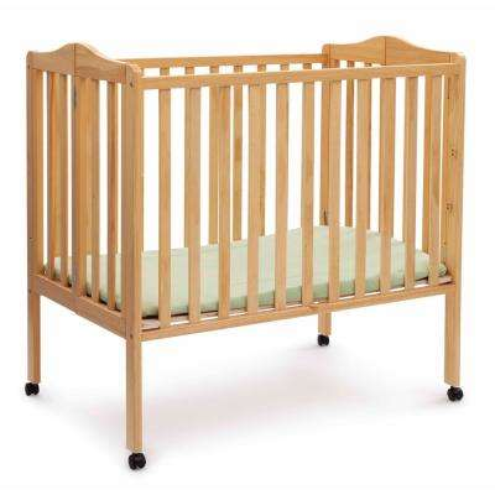 Portable Natural Folding Crib with Mattress